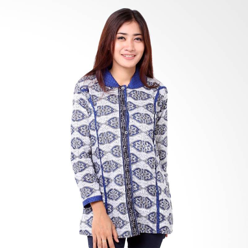 Batik Distro BA7801 Blus Kantor Panjang Atasan Wanita - Biru
