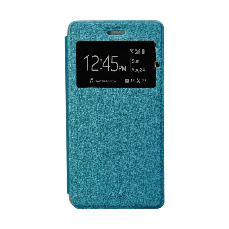 Smile Flip Cover Casing for Samsung Galaxy Grand Max - Biru Muda
