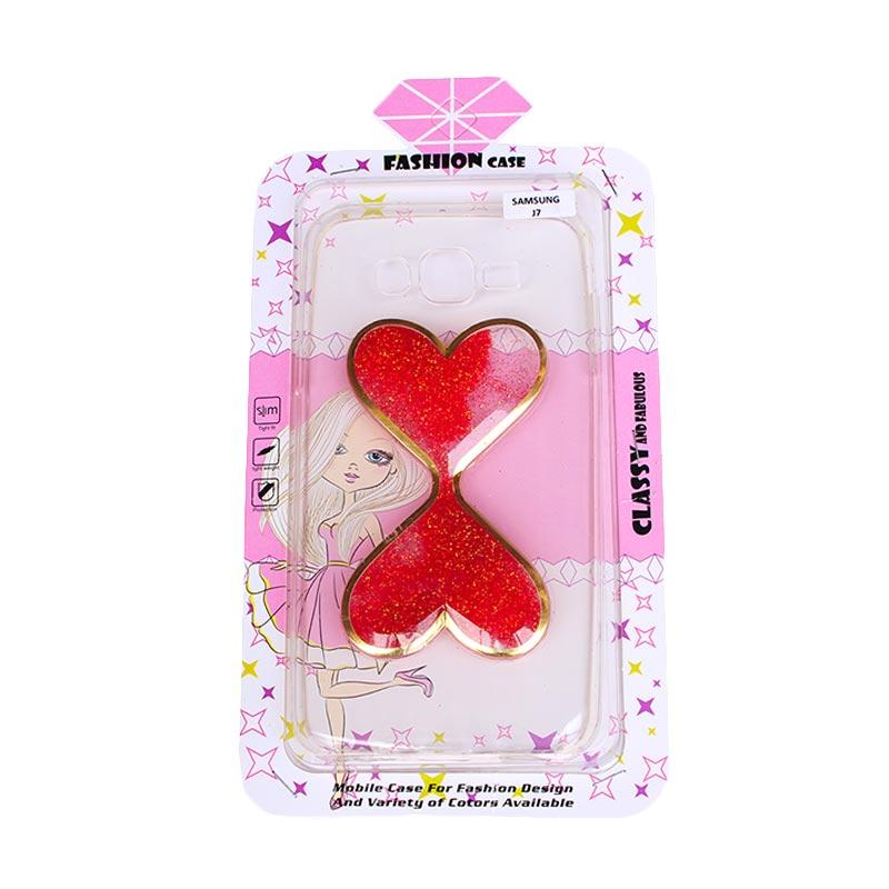 Fashion Case Water Glitter 2 Love Casing for Samsung J3 - Red