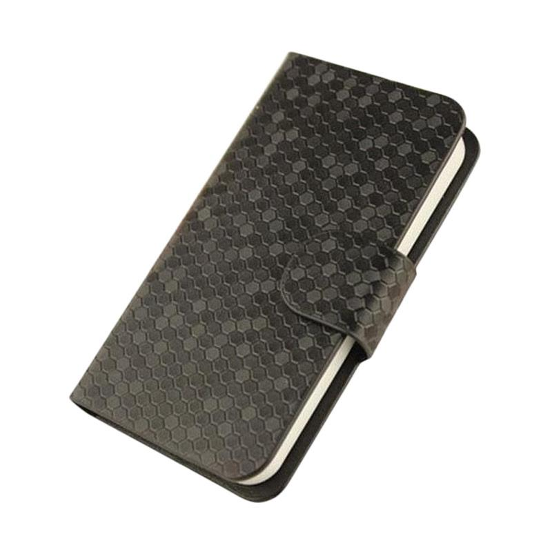 OEM Glitz Flip Cover Casing for Alcatel OneTouch PIXI 3 4.0 Inch - Hitam