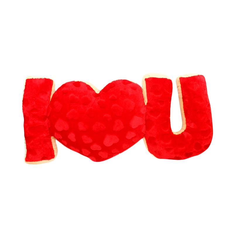 Istana Kado IKO00684 Love Valentine I Love U Text Bantal - Merah