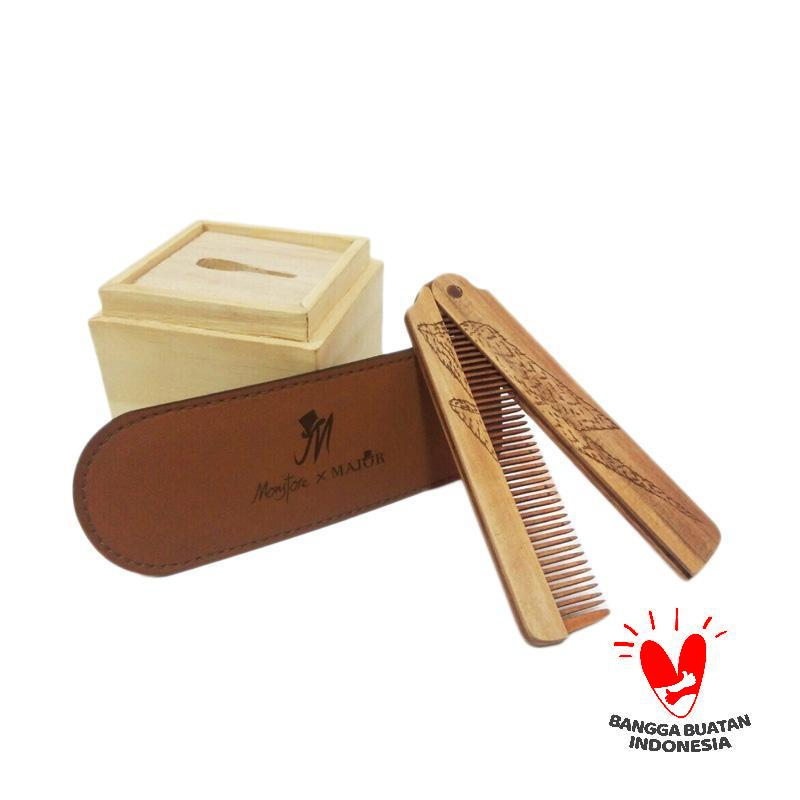 Wooden Major Folding Comb Thunder Sisir Rambut