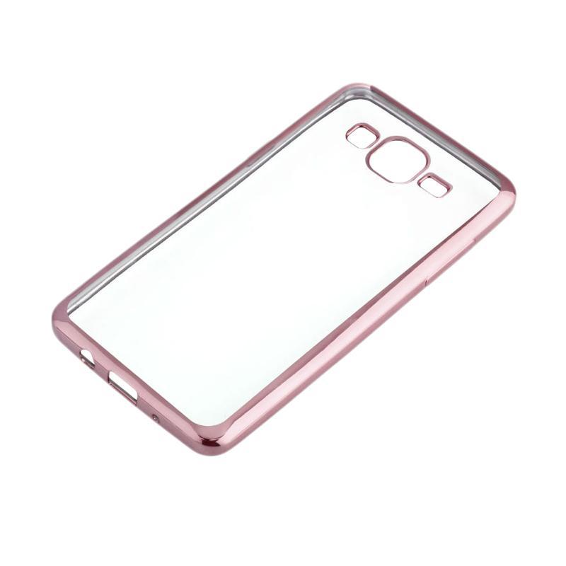 OEM Shining Chrome Softcase Casing for Samsung J2 Prime - Rose Gold