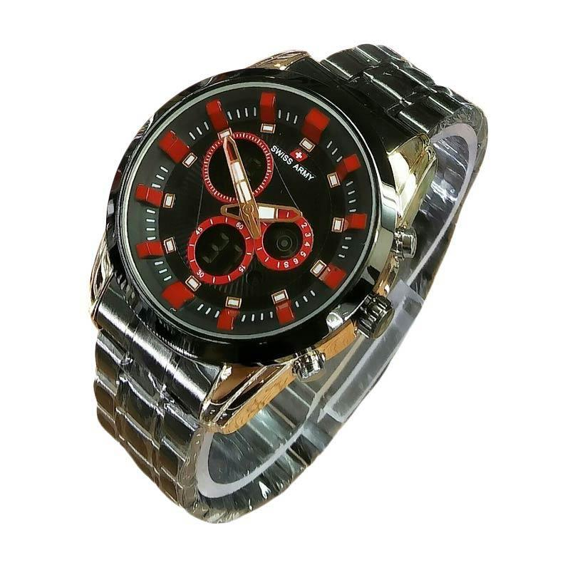 harga Swiss Army SA5144M RGR Dual Time Jam Tangan Pria - Black Blibli.com
