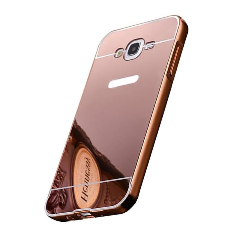 Bumper Mirror Sliding Casing for Samsung Galaxy On7 - Rose Gold