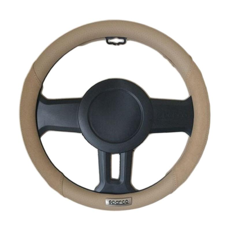 Sparco 1112BEJS Steering Wheel Cover Sarung Stir Mobil - Beige [370 mm]
