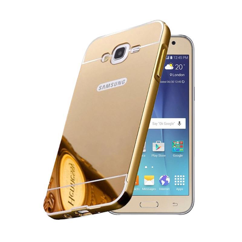 Bumper Case Mirror Sliding Casing for Samsung Galaxy Mega 5.8 Inch - Gold