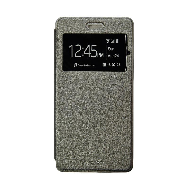 Smile Flip Cover Casing for Samsung Galaxy Grand Prime G530 - Abu-abu