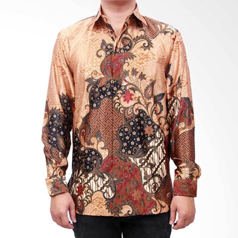 Batik Heritage Exclusive Linen Pola Rambat Bunga Kemeja Pria - Kuning