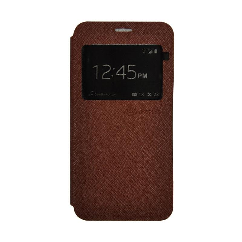 SMILE Standing Cover Casing for Samsung Galaxy J2 Prime - Brown