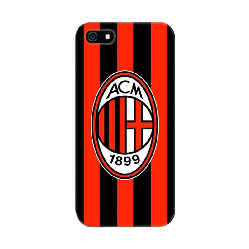 Indocustomcase AC Milan FC Logo One Striped Cover Hardcase Casing for Apple iPhone 5/5S/SE