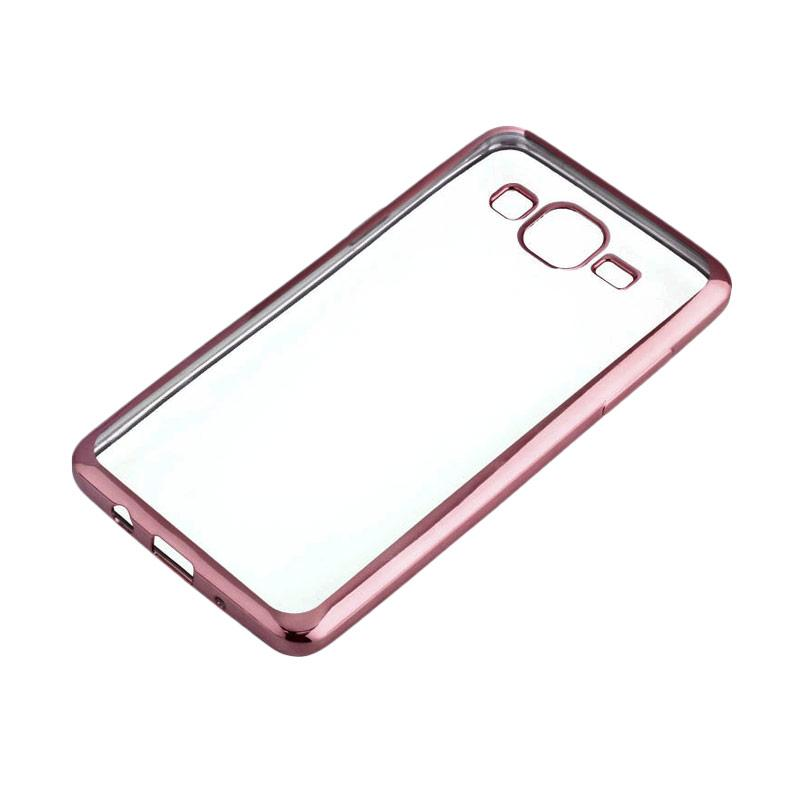 OEM Shining Chrome Softcase Casing for Samsung J210 J2 2016 5.0 Inch - Rose Gold