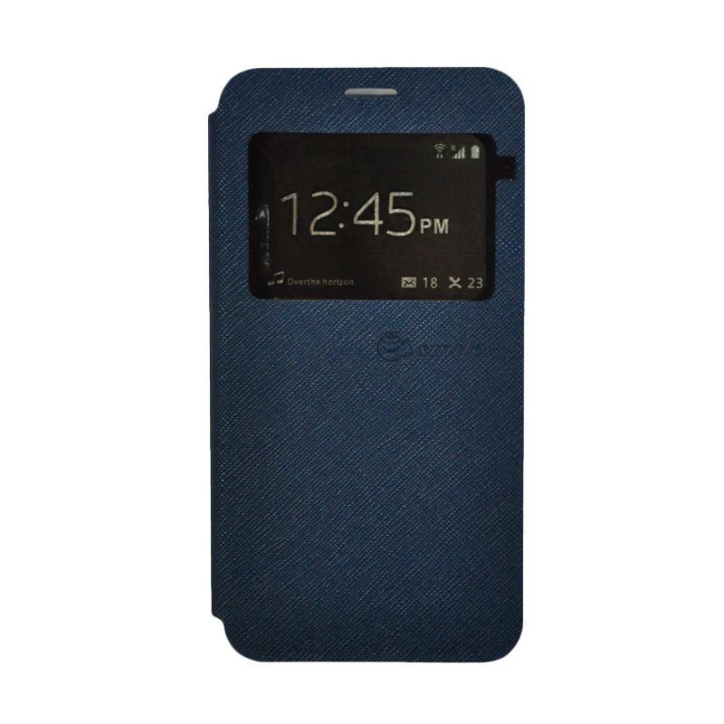 SMILE Standing Flip Cover Casing for Lenovo K4 Note A7010 - Navy Blue