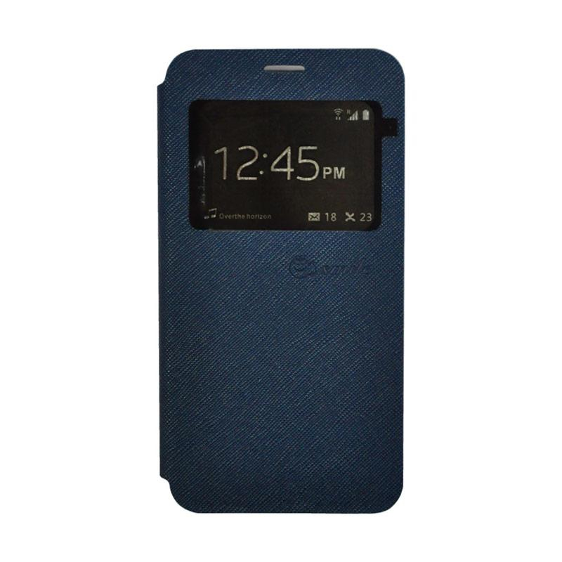 Smile Leather Standing Flip Cover Casing for Vivo V5 - Navy Blue