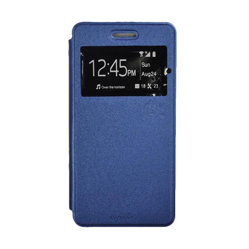 SMILE Standing Flip Cover Casing for Samsung Galaxy J5 - Deep Blue