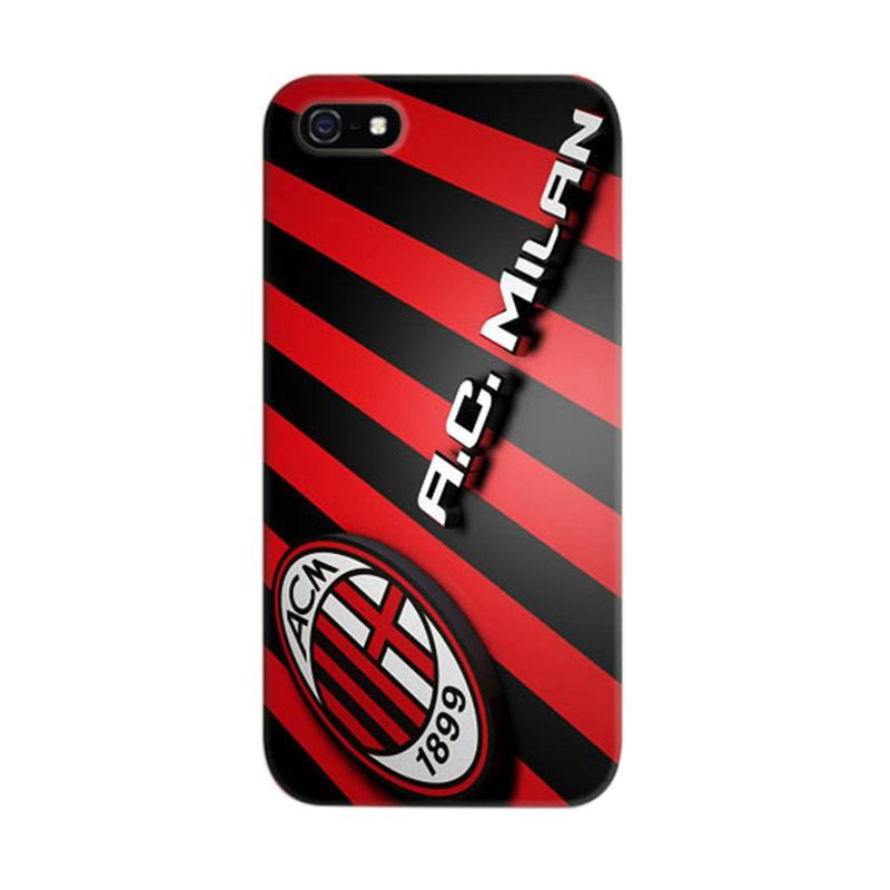 Indocustomcase AC Milan FC Logo One Striped 2 Cover Hardcase Casing for Apple iPhone 5/5S/SE