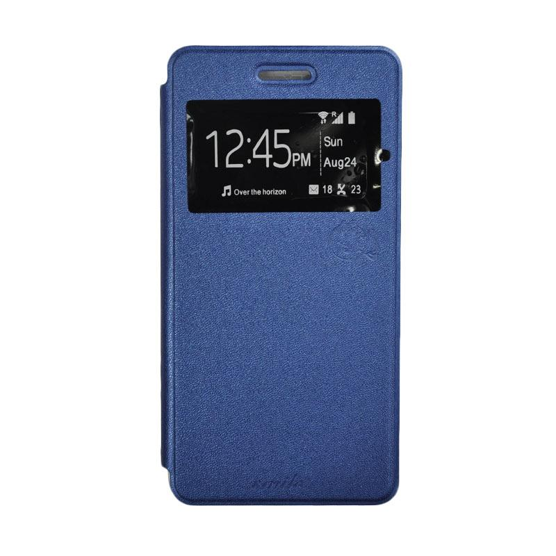 SMILE Standing Flip Cover Casing for Samsung Galaxy J7 - Deep Blue