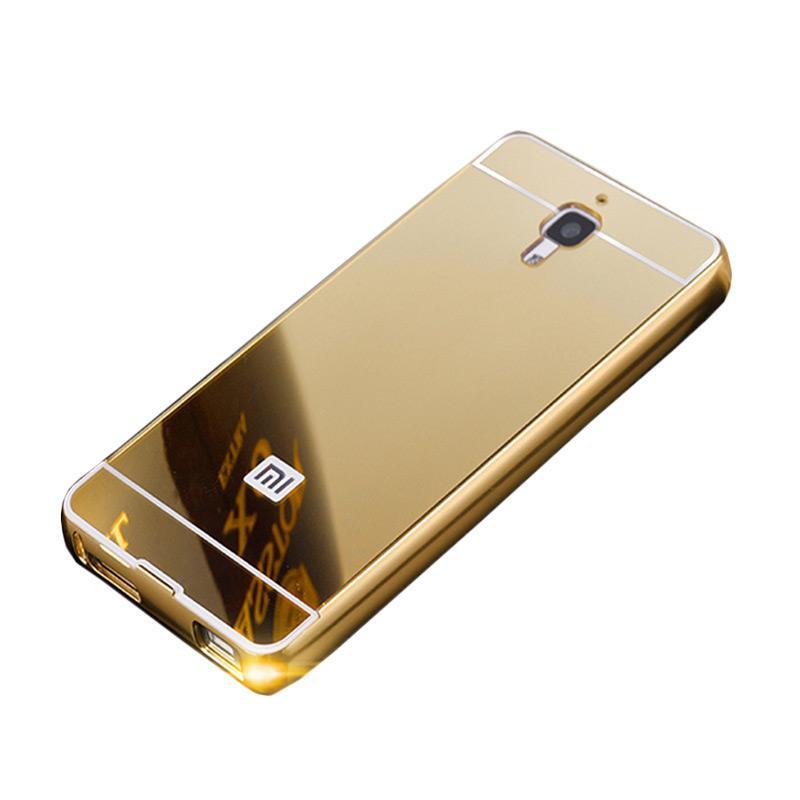 Bumper Case Mirror Sliding Casing for Xiaomi Redmi Mi4 - Gold