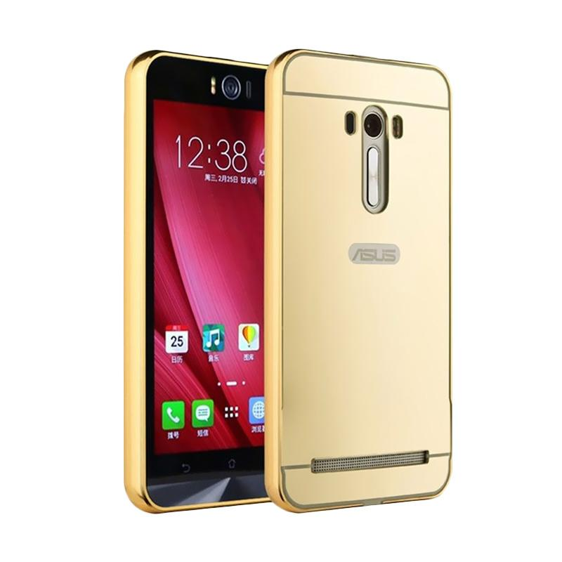 Bumper Mirror Sliding Casing for Asus Zenfone 2 5.5 Inch - Gold