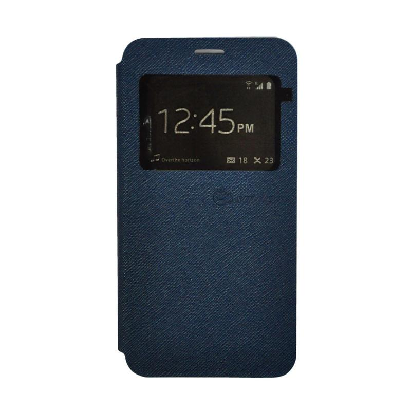 Smile Leather Standing Flip Cover Casing for Vivo X9 - Navy Blue