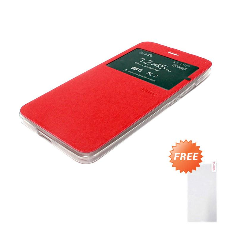 Jual Ume Flip Cover Casing for Xiaomi Redmi Note 3 - Merah + Free Tempered Glass