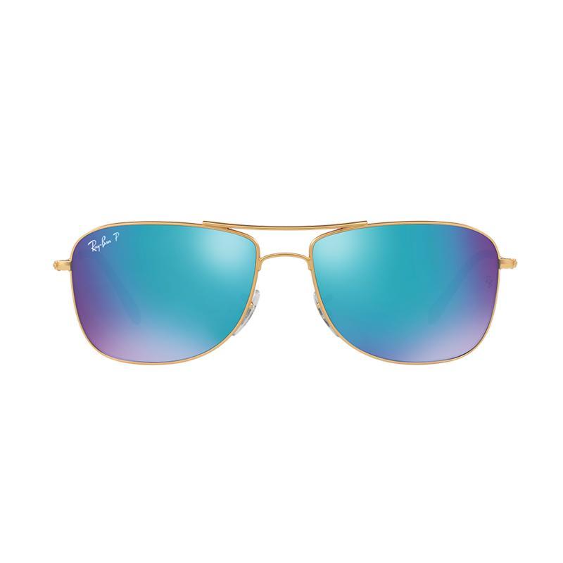 Ray-Ban Rb3543 112 A1 Matte Gold Lens Sunglasses - Blue Polar Flash [Size 59]