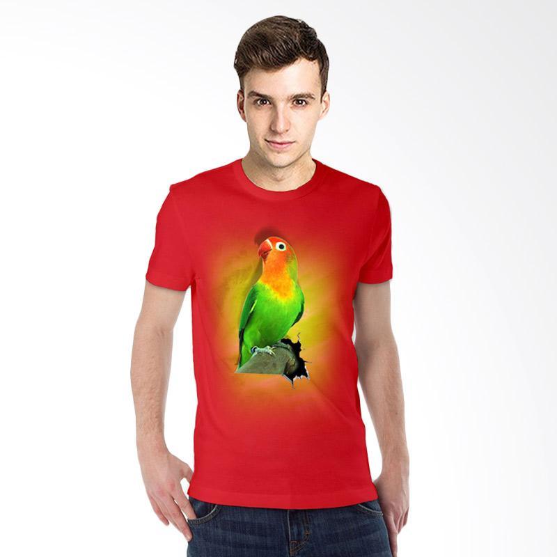 harga T-Shirt Glory 3D Burung Love Bird Fold Kaos Pria - Merah Blibli.com