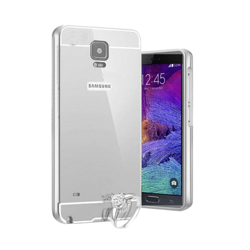 Bumper Case Mirror Sliding Casing for Samsung Galaxy Note 4 - Silver