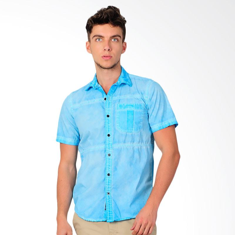 SJO & SIMPAPLY Pleat Pocket Men's Kemeja Pria - Light Blue