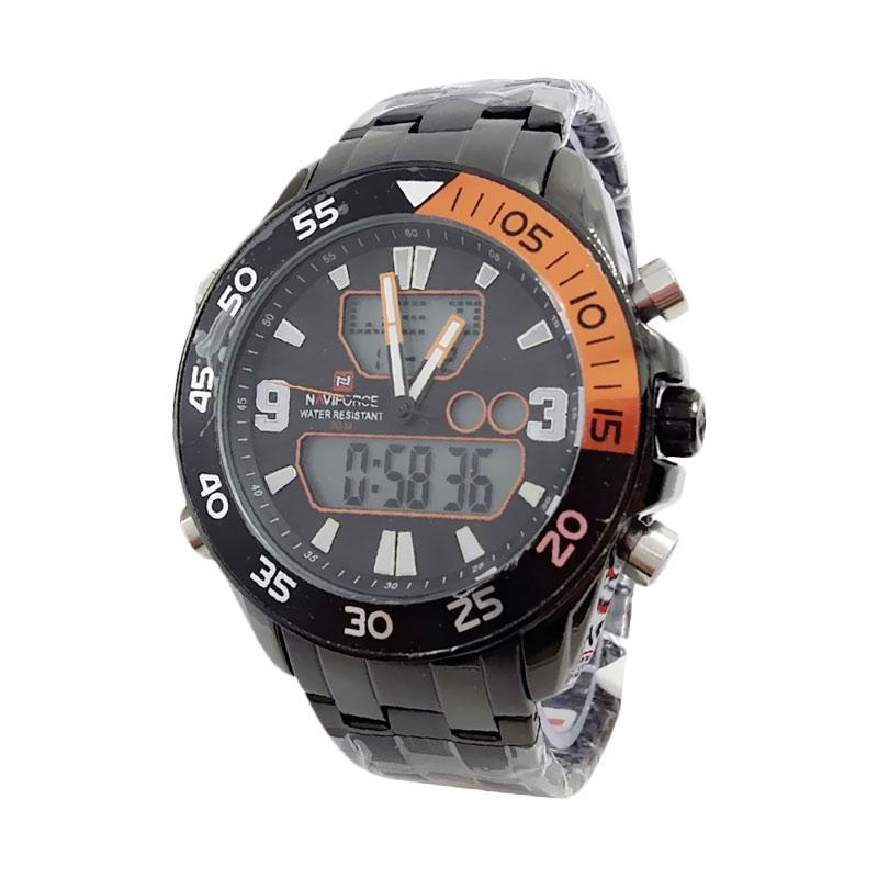 Naviforce D47H205VF9047MHTMLO Dualtime Jam Tangan Pria - Black Orange
