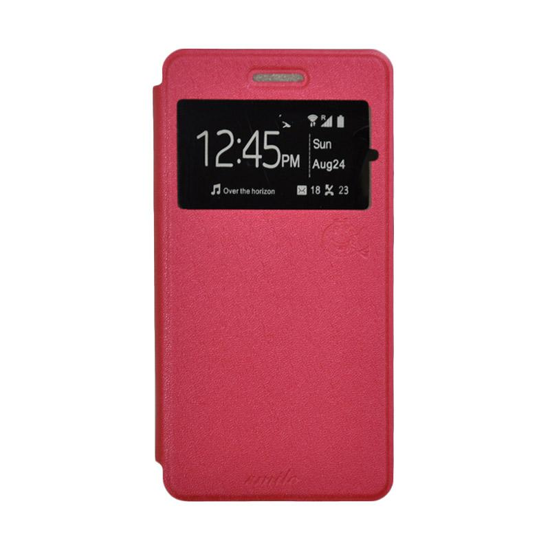 SMILE Standing Flip Cover Casing for Samsung Galaxy J1 - Hot Pink