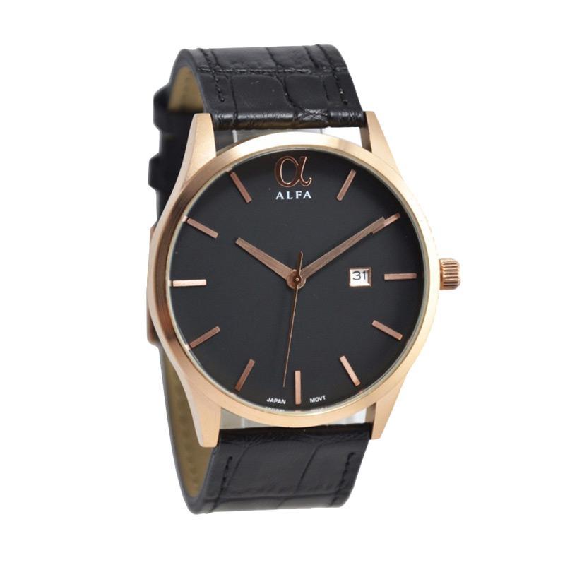 Alfa H170D45AL55010MHTMRGH Gentleman Colection Jam Tangan Pria - Black Rosegold