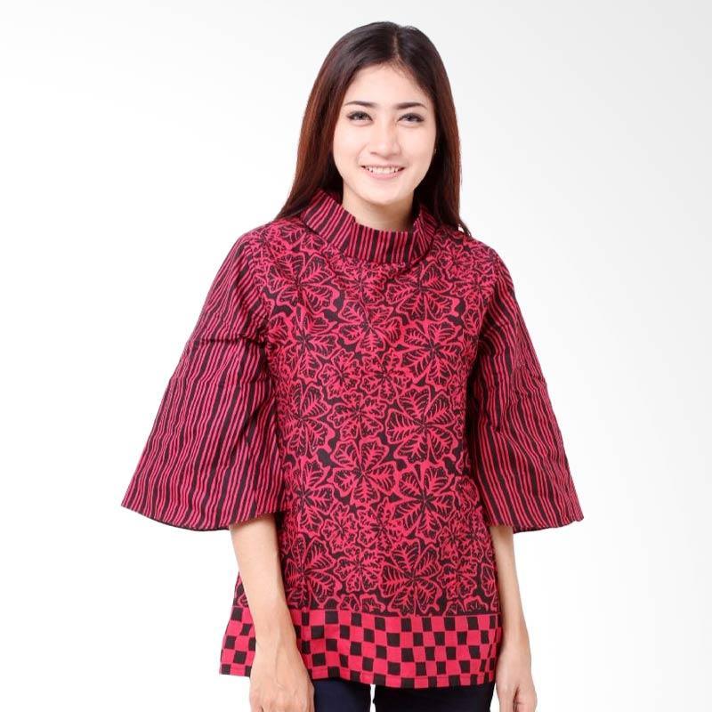 Batik Distro BA7790 Kerah Lipat Resleting Blus Wanita - Merah