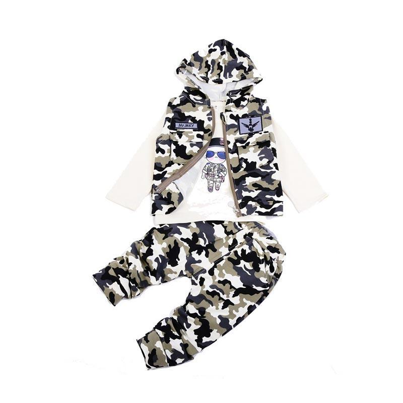 Chloebaby Shop 3 in 1 Camouflage F958 Setelan Pakaian Anak - Grey