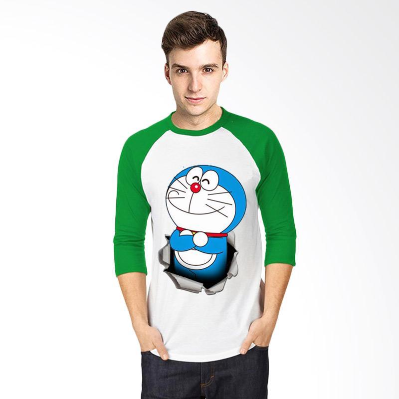 harga T-SHIRT GLORY 3D Doraemon Ajaib Kaos Raglan - Putih Hijau Blibli.com
