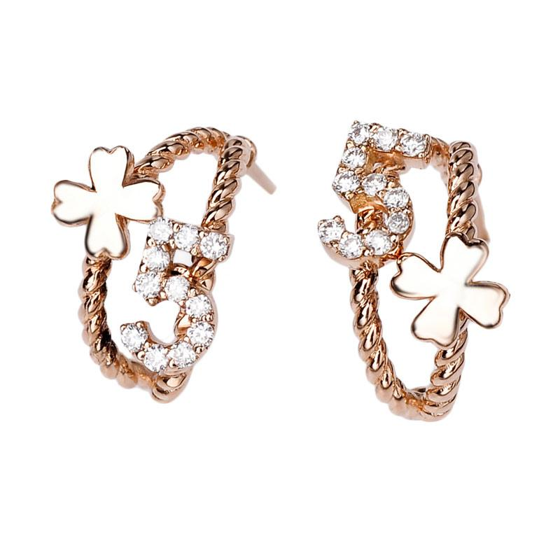Tiaria DMKMED002 Perhiasan Emas Putih and Berlian Anting - White Gold [18K]