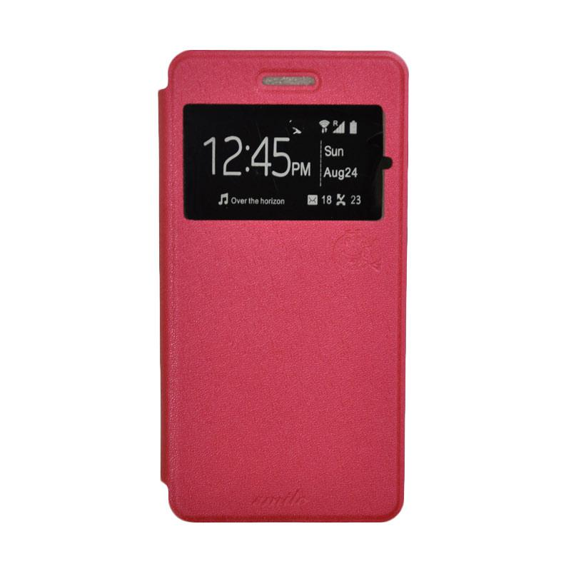 SMILE Standing Flip Cover Casing for Samsung Galaxy J5 - Hot Pink