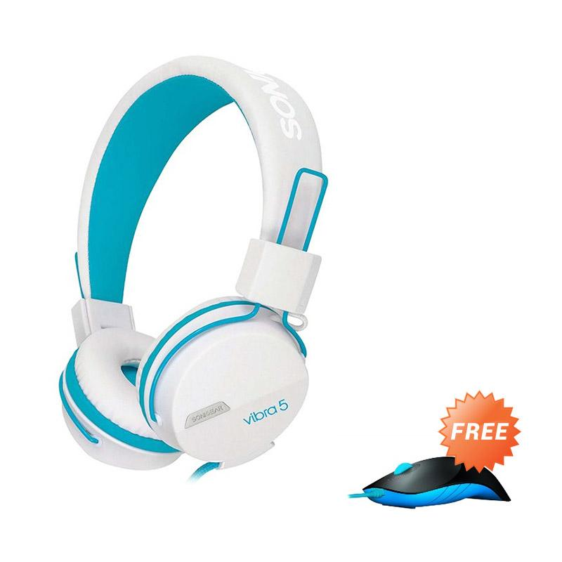 Sonicgear Vibra 5 Gaming Headset - White Blue + Gaming Mouse Shark