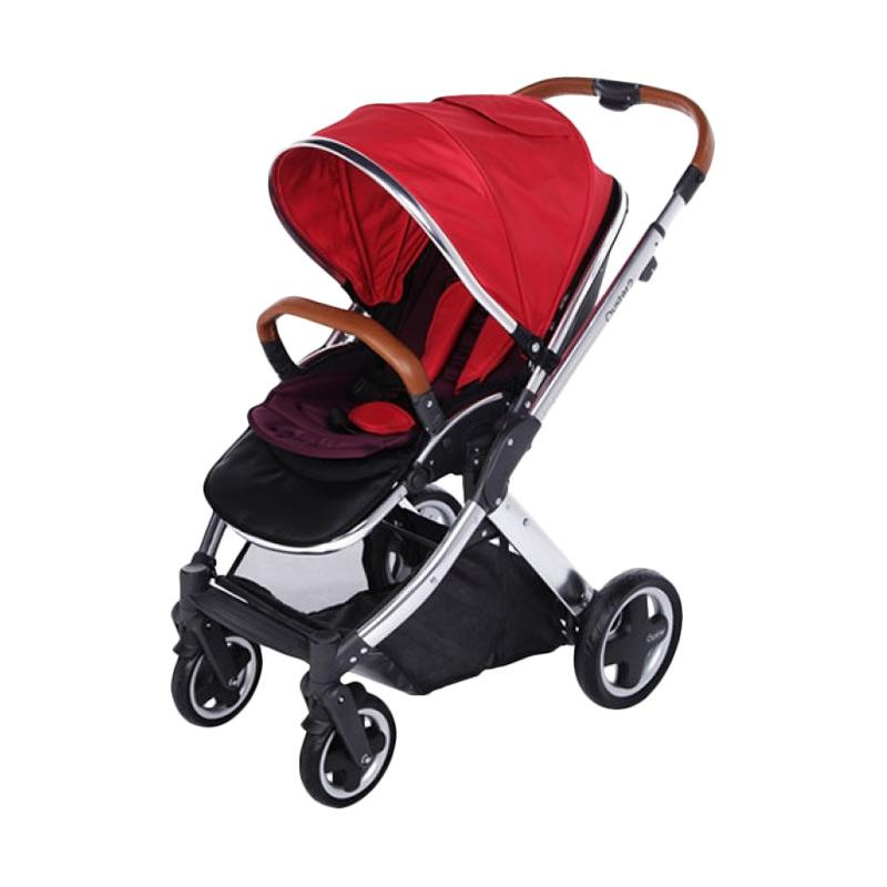 OYSTER 2 Stroller Bayi Mirror FREE Seat Liner dan Cup Holder Red [FREE Purple Canopy]