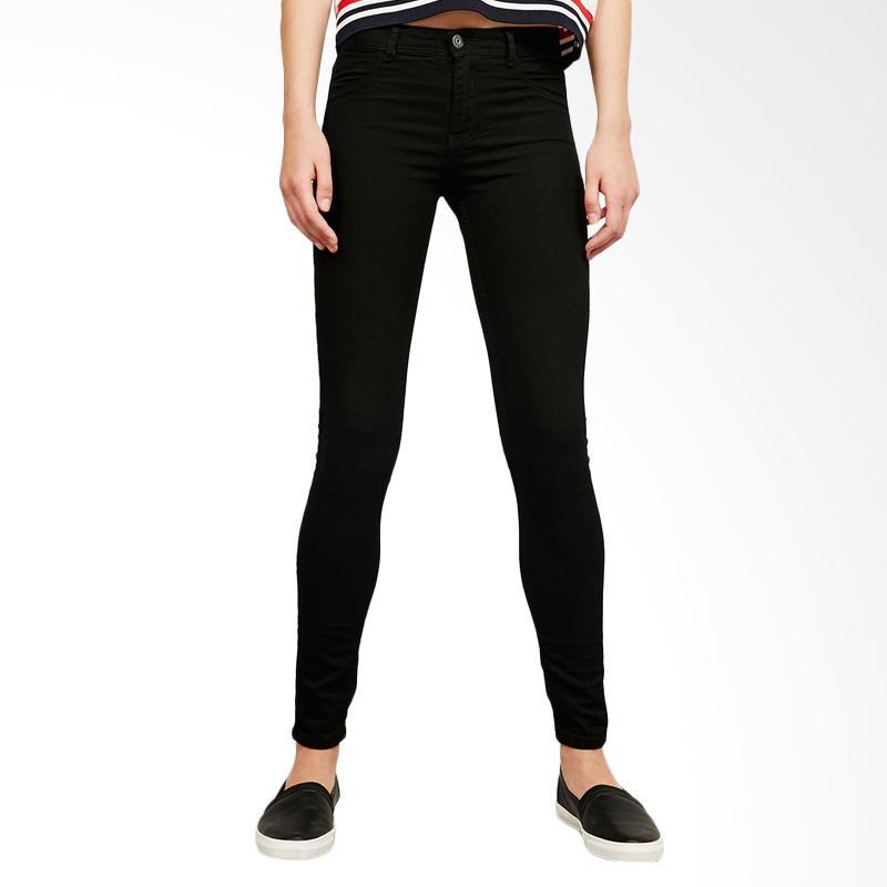 Bershka Regular Waist Super Skinny Jeans Celana Wanita - Hitam