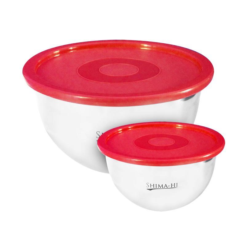 Lokal Adelaides Shimahi Stainless Steel Set Mixing Bowl - Merah [2 Buah]