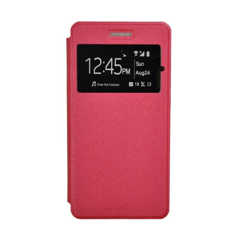 SMILE Standing Flip Cover Casing for Samsung Galaxy J7 - Hot Pink