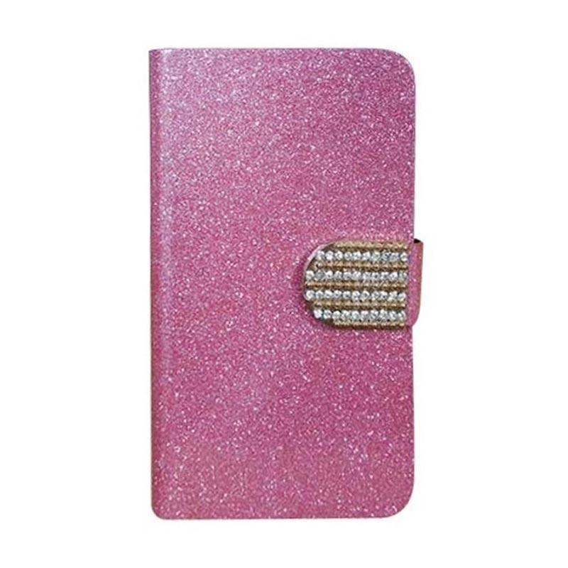 OEM Diamond Flip Cover Casing for Alcatel OneTouch Pop Up - Merah Muda