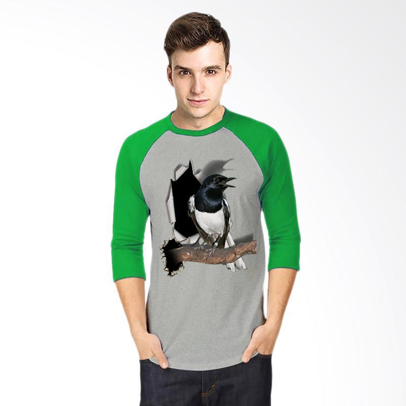 harga T-Shirt Glory Kaos 3D Burung Kacer Poci Kaos Raglan Pria - Abu Hijau Blibli.com