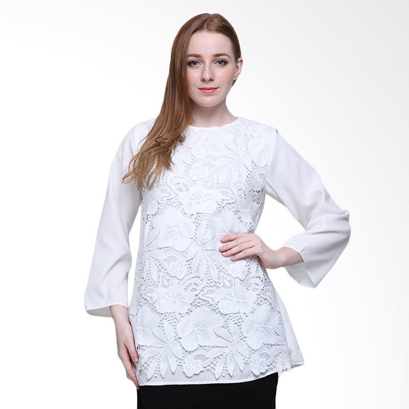 Delarosa Raya With Unieq Broklat Tunik Atasan Wanita - White