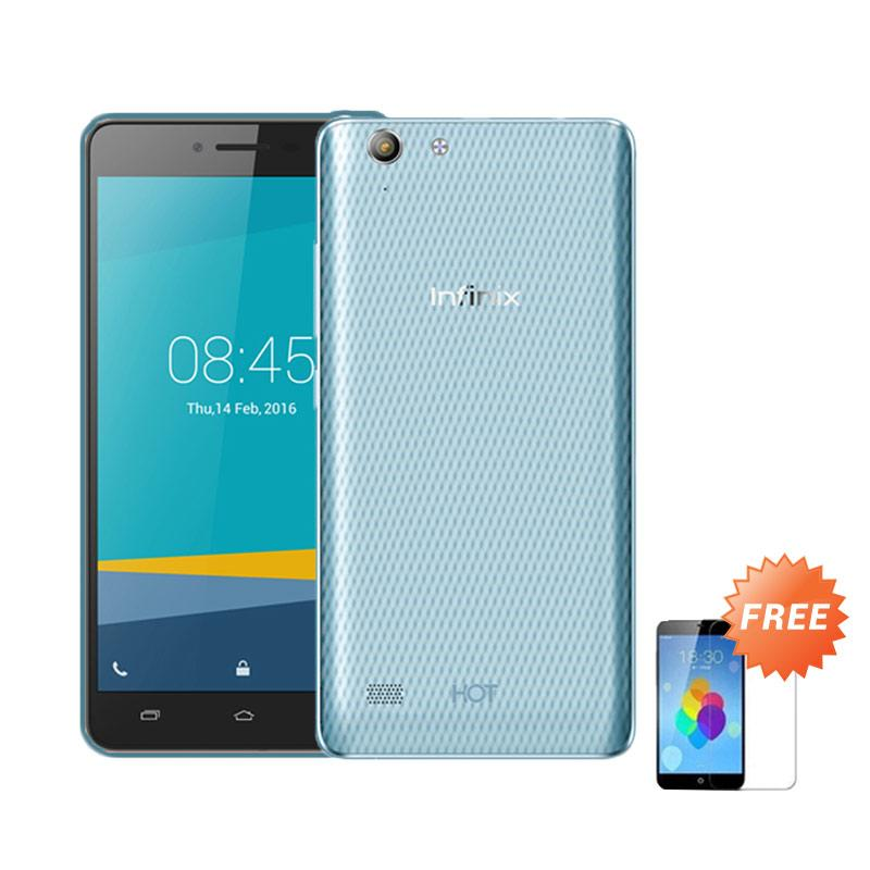 Ultrathin Casing for Infinix Hot 3 - Blue Clear + Free Tempered Glass