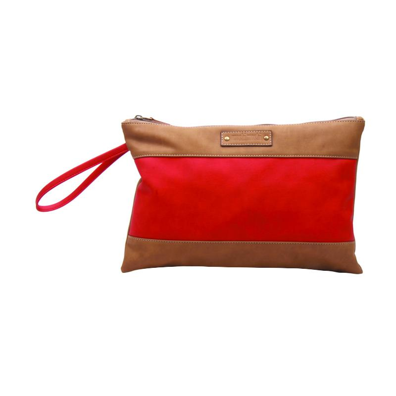 Moshimoshi PCL.36 Two Tone Synthetic Leather Clutch - Red