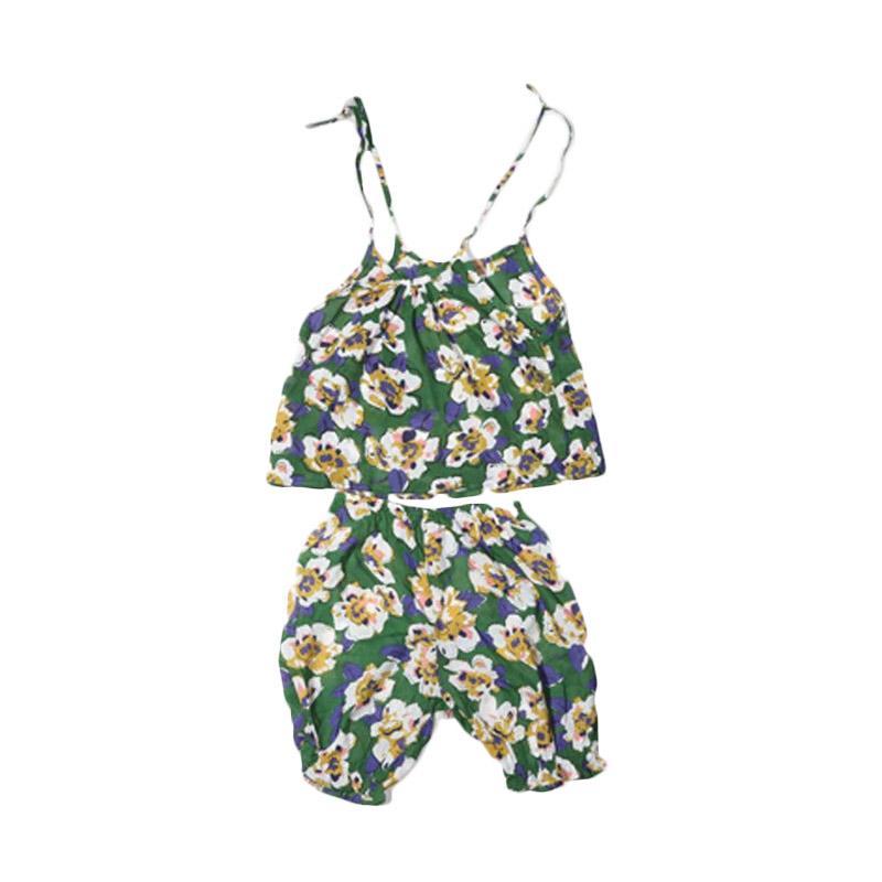 Adel & Audrey Top Pants 140 Flower Setelan Anak Perempuan - Green