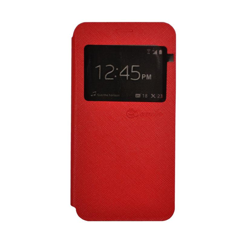SMILE Standing Cover Casing for Samsung Galaxy J7 Prime - Red