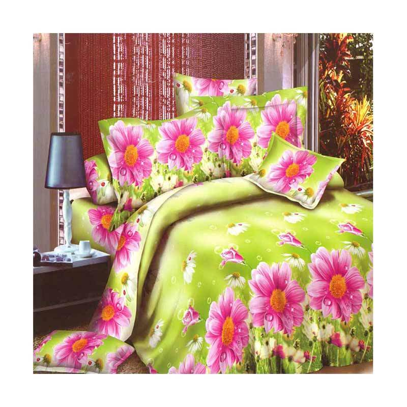 Rosewell Microtex Disperse Krisan Set Sprei - Green Pink